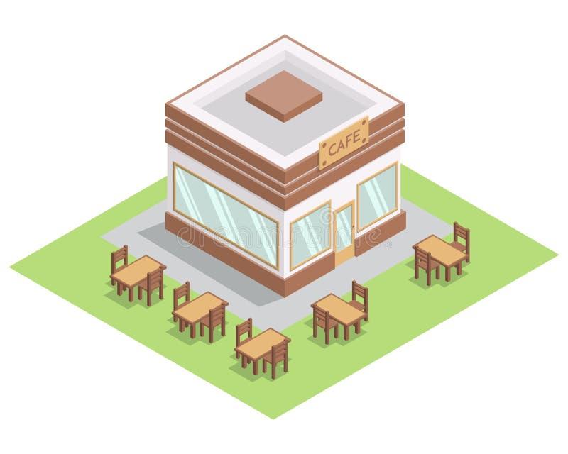 与桌和椅子的等量街道3D咖啡馆大厦在白色背景隔绝的草 皇族释放例证