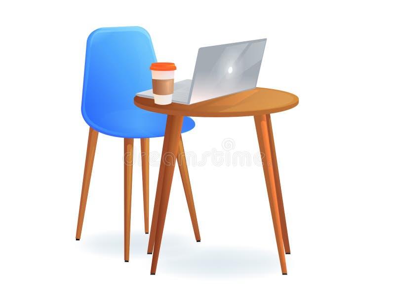 与桌和膝上型计算机的办公室椅子和拿走咖啡 工作场所的现代家具 库存例证
