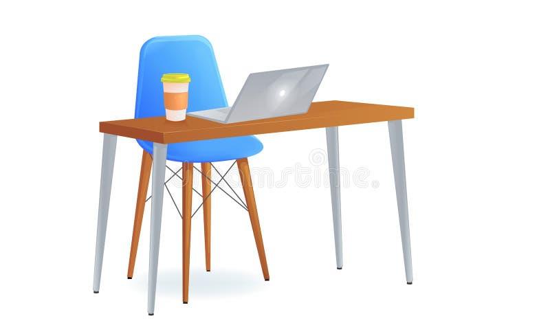 与桌和膝上型计算机的办公室椅子和拿走咖啡 工作场所的现代家具 皇族释放例证