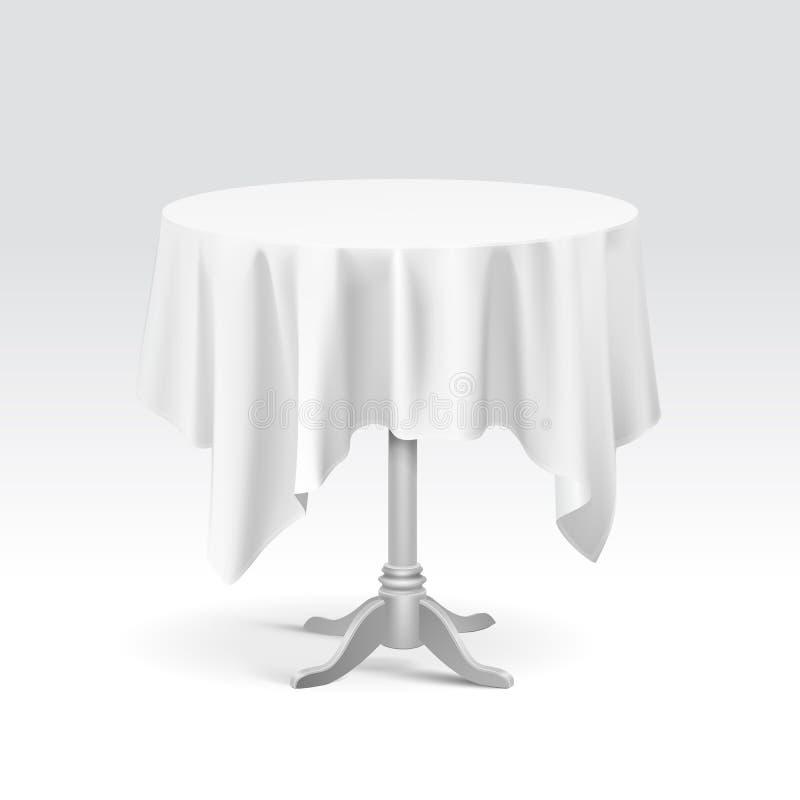 与桌布的传染媒介空的圆桌 向量例证