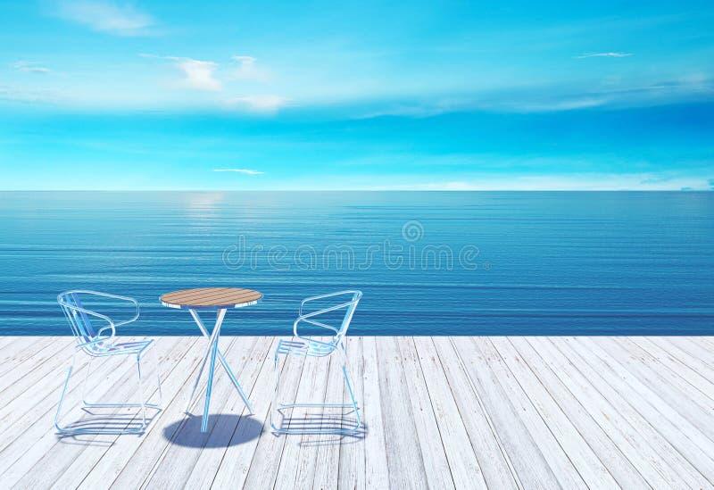 与桌的室外在海的大阳台和椅子 免版税库存照片