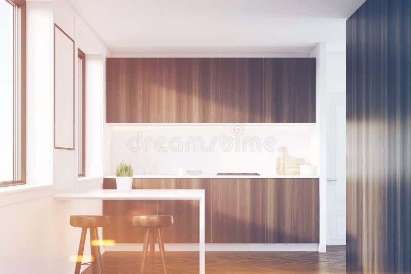 与桌的黑暗的木厨房内部,被定调子 向量例证