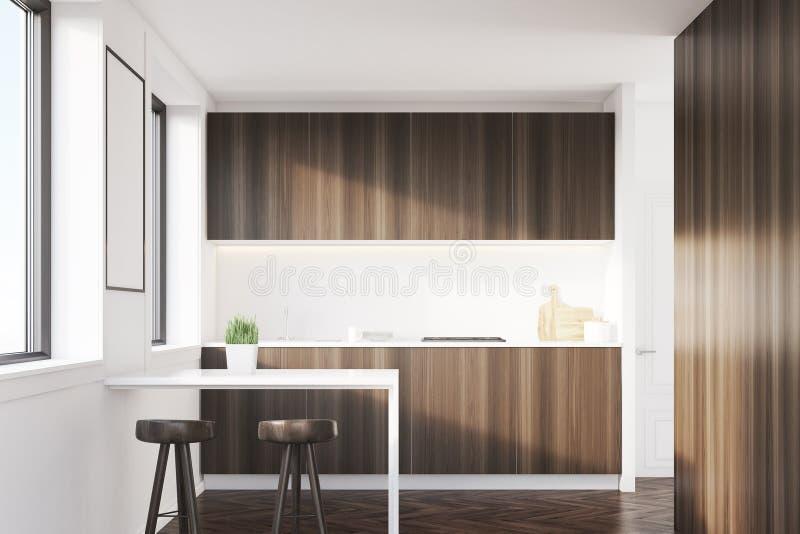 与桌的黑暗的木厨房内部 向量例证