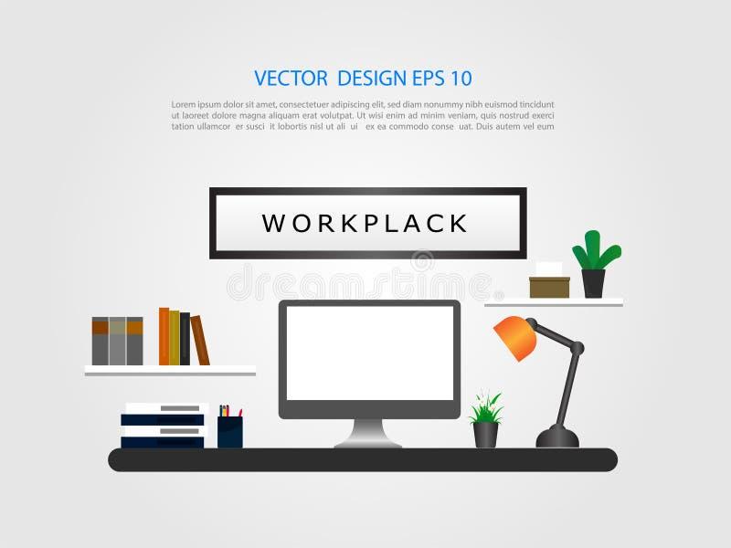 与桌面显示的办公室内部 绘制配电器等级附注办公室笔百分比安排典型的视图工作图表 平的设计 库存例证