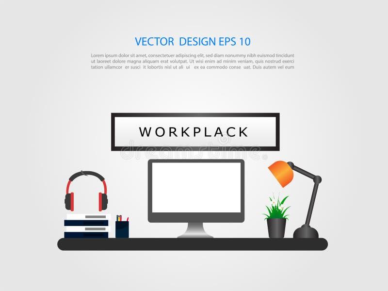 与桌面显示的办公室内部 绘制配电器等级附注办公室笔百分比安排典型的视图工作图表 平的设计 向量例证