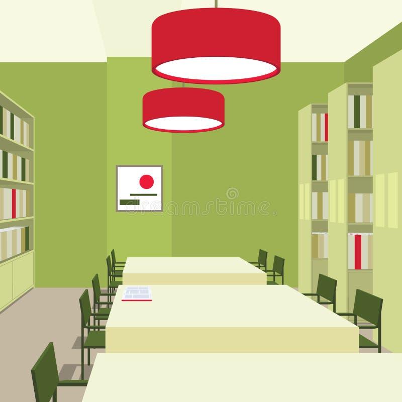 与桌,椅子,书橱,光的图书馆内部 透视图 空的空间 阅览室的例证 向量例证