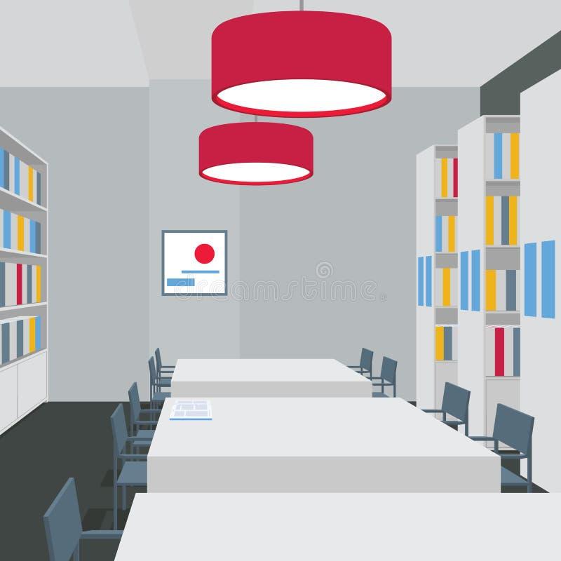 与桌,椅子,书橱,光的图书馆内部 透视图 空的空间 阅览室的例证 皇族释放例证