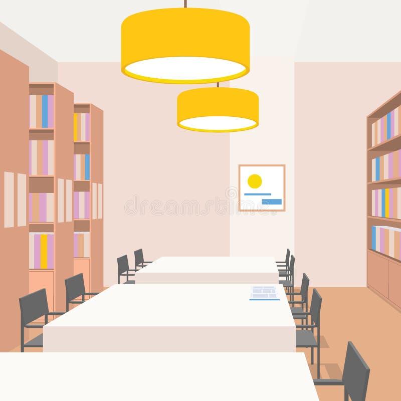 与桌,椅子,书橱,光的图书馆内部 透视图 空的空间 阅览室的例证 库存例证