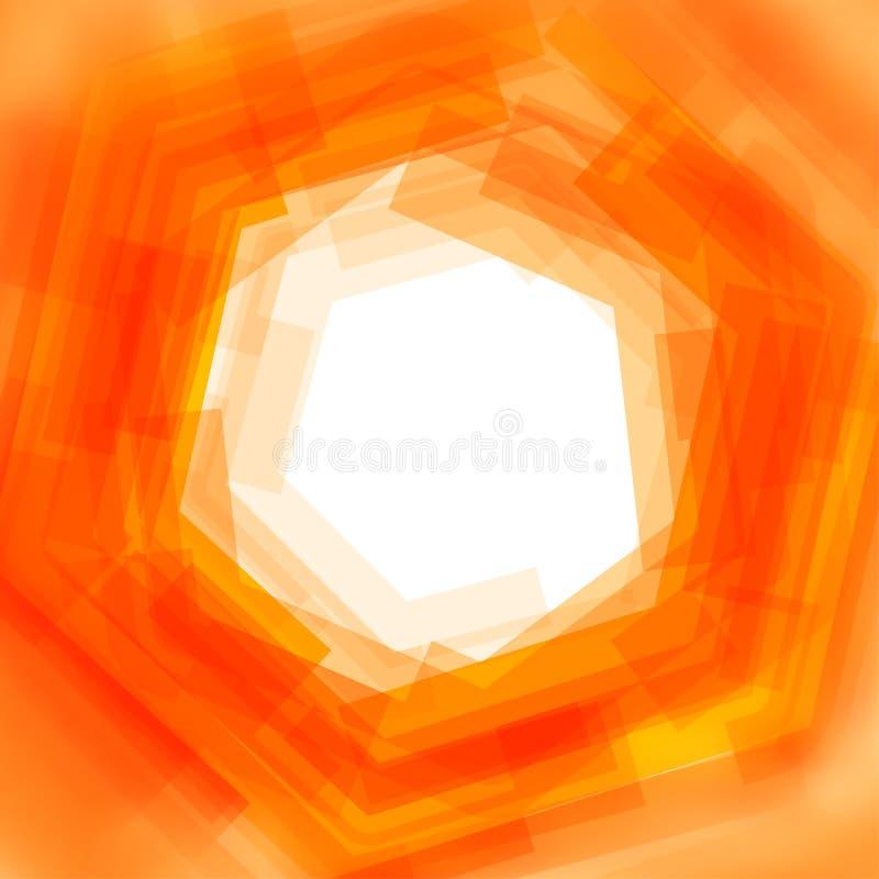 与桔子被弄脏的六角形的传染媒介背景 向量例证