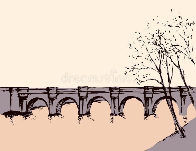 与桥梁的都市风景在河 得出花卉草向量的背景 向量例证