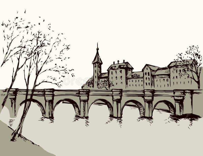 与桥梁的都市风景在河 得出花卉草向量的背景 库存例证