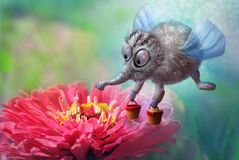 与桶的幻想神仙的蜜蜂飞行对美丽的红色花的蜂蜜收集花粉,不可思议的字符 向量例证