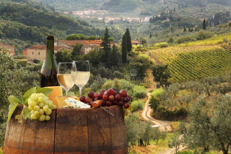 与桶的白葡萄酒在葡萄园在Chianti,托斯卡纳,意大利 图库摄影