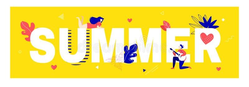 与梦中情人、男孩弹吉他的,文本、植物和图表元素的夏天海报在黄色背景 滑稽的卡片 向量例证