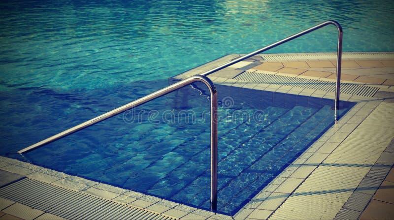 与梯子和钢扶手栏杆的游泳池 库存图片