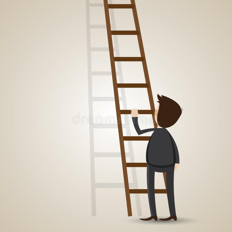 与梯子的动画片商人 向量例证