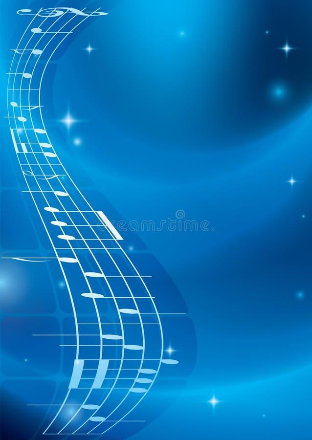 与梯度的明亮的蓝色音乐背景 皇族释放例证
