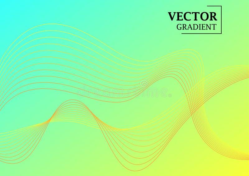 与梯度纹理,与线的几何样式的抽象背景 与华丽的浅兰的梯度以波浪的形式 皇族释放例证