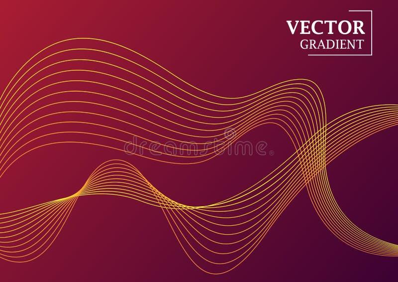 与梯度纹理,与线的几何样式的抽象背景 与华丽的紫罗兰色和红色梯度以波浪的形式 皇族释放例证