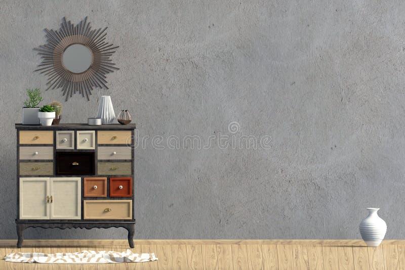 与梳妆台的现代内部 墙壁嘲笑 向量例证