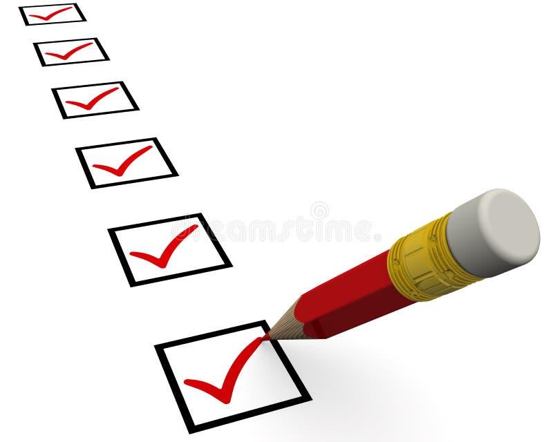 与检查任务的铅笔的清单 库存例证