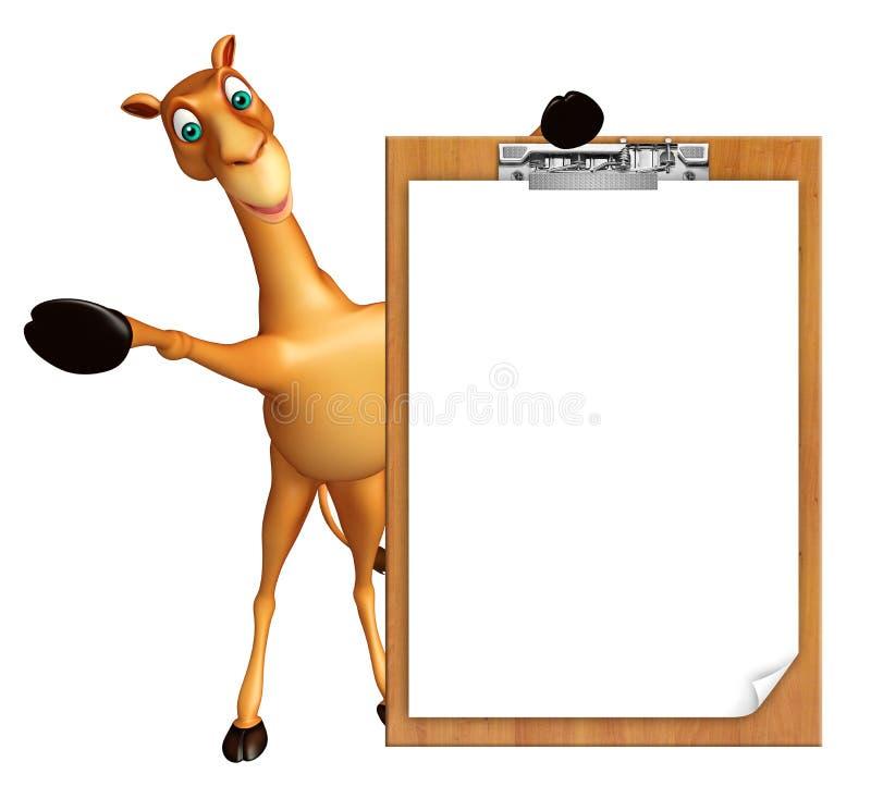 与检查垫的逗人喜爱的骆驼漫画人物 库存例证