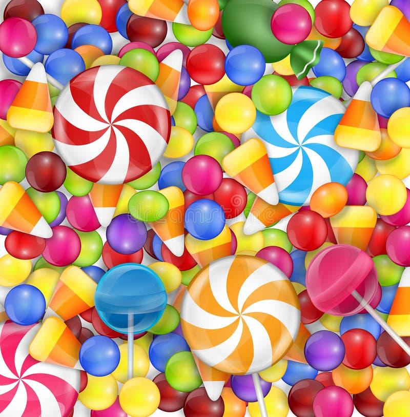 与棒棒糖、糖味玉米和gumballs的甜点背景 皇族释放例证