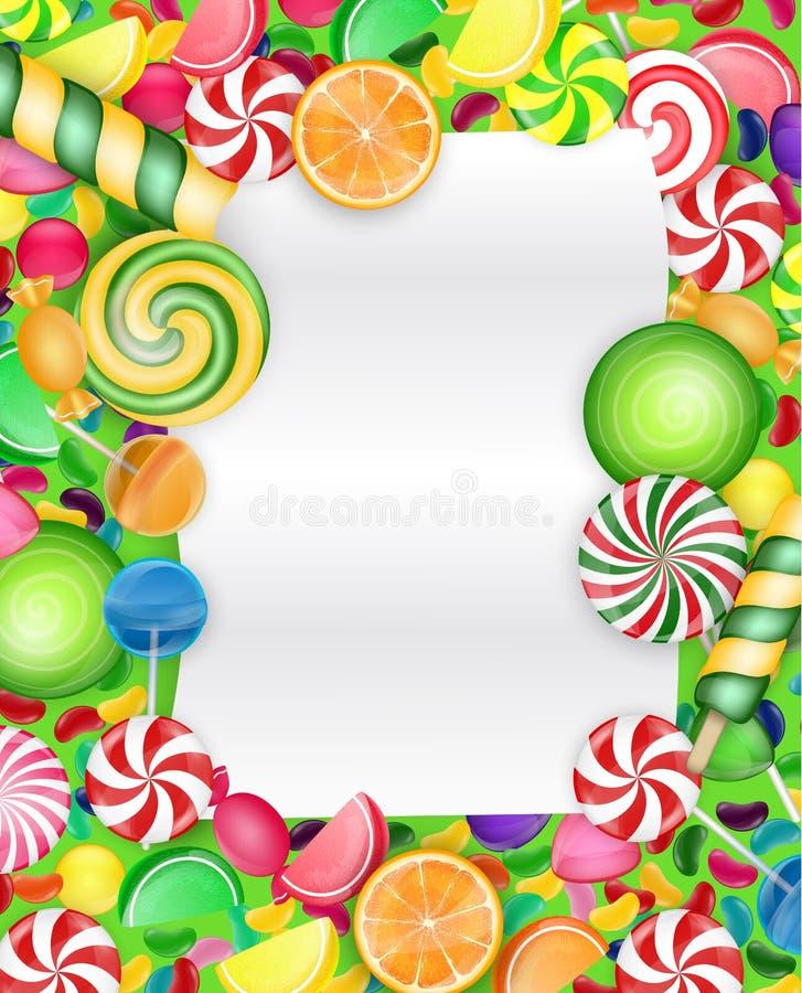 与棒棒糖和橙色切片的五颜六色的糖果背景 向量例证