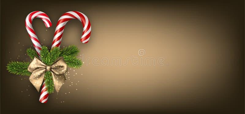 与棒棒糖的金黄圣诞节横幅 皇族释放例证