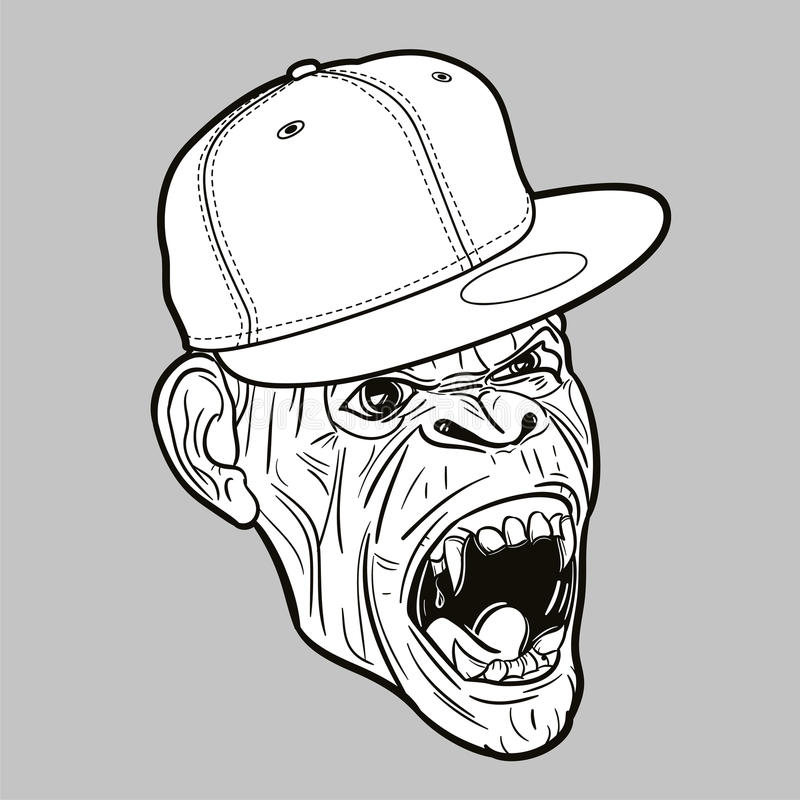 与棒球帽-编辑可能的向量图形的恼怒的猿 免版税库存照片