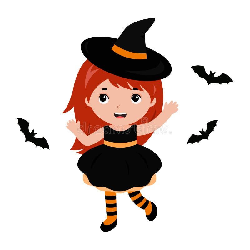 与棒的可爱的小的巫婆跳舞 狂欢节服装威尼斯 向量 库存例证
