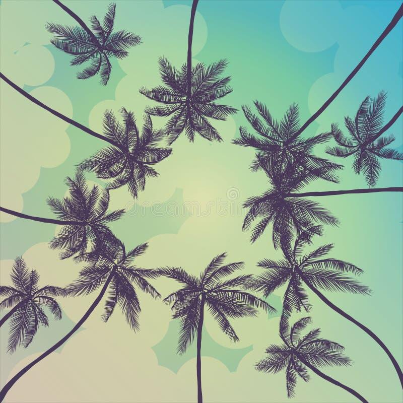 与棕榈、天空和日落的夏天热带背景 夏天招贴海报飞行物邀请卡片 夏令时 皇族释放例证
