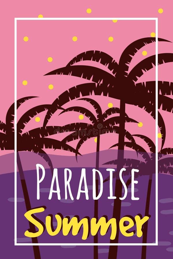 与棕榈、天空和日落的夏天热带背景 夏天海报飞行物邀请卡片 夏令时 传染媒介,被隔绝 皇族释放例证