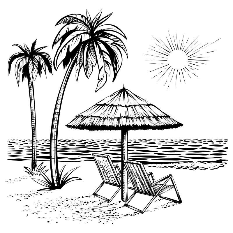 与棕榈、懒人和遮阳伞,传染媒介剪影例证的海滩视图 库存例证