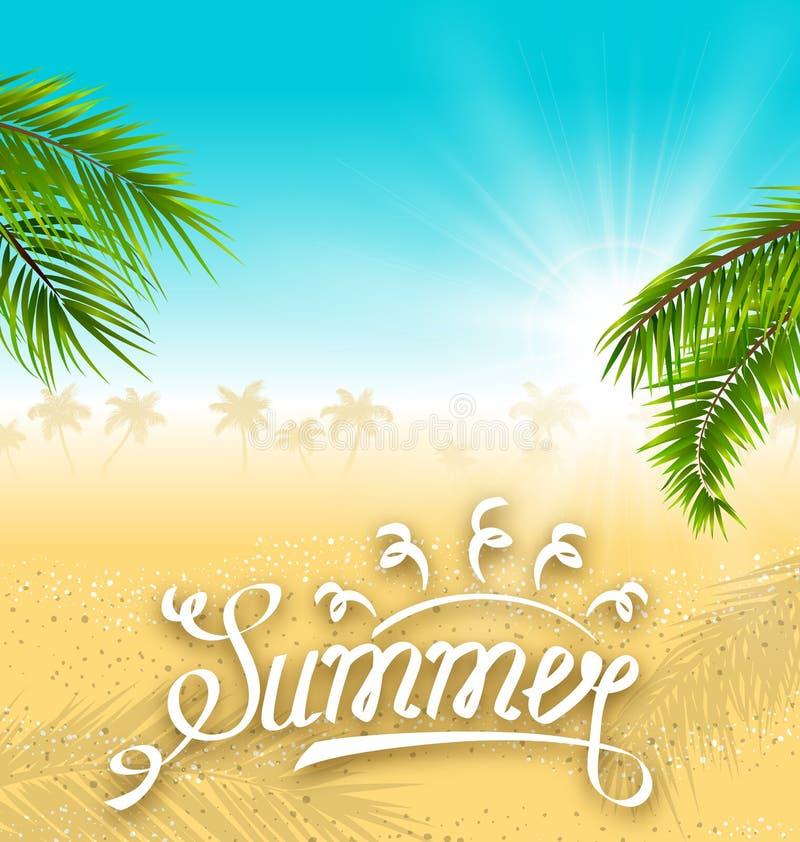 与棕榈叶和海滩的热带自然背景 字法文本 向量例证