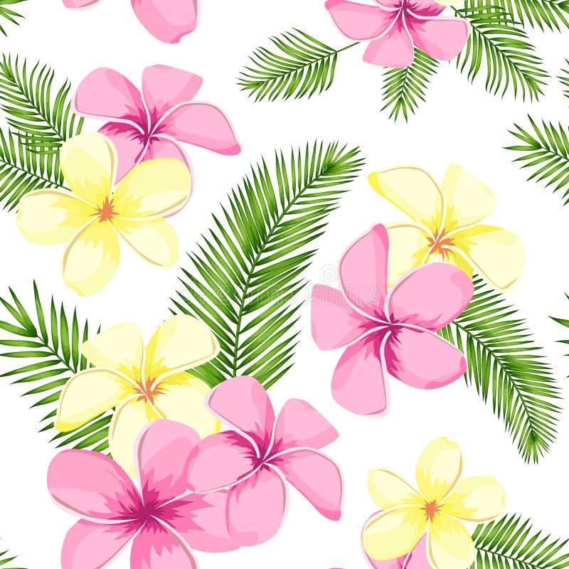 与棕榈叶和花的热带无缝的样式 r 库存例证