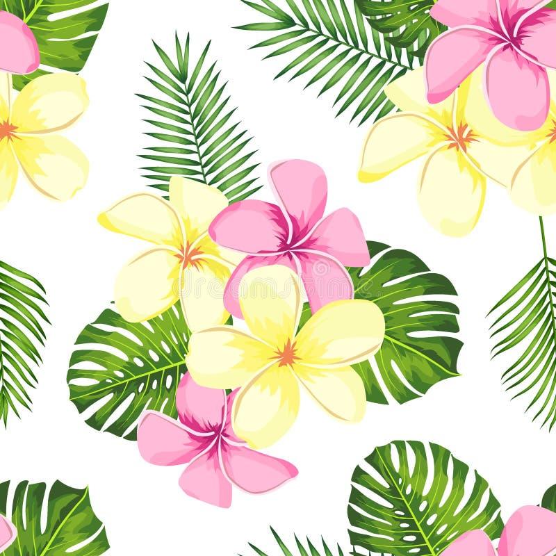 与棕榈叶和花的热带无缝的样式 r 库存图片