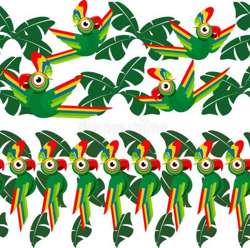 与棕榈叶和鹦鹉的热带无缝的设计 向量例证