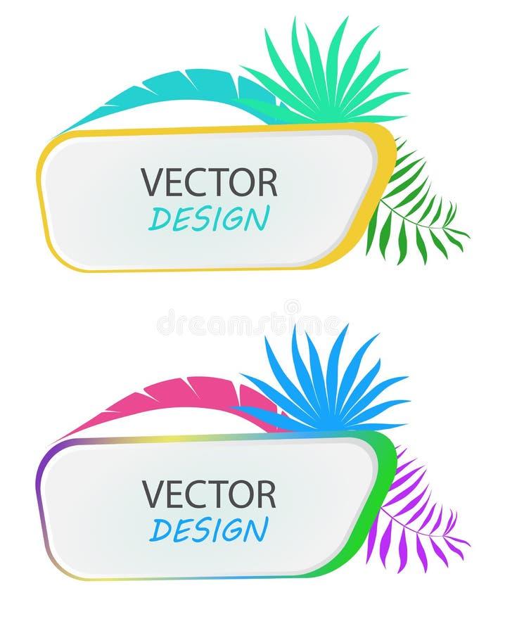 与棕榈叶的传染媒介横幅 热带横幅设计  文本的框架与叶子 横幅的传染媒介框架 向量例证