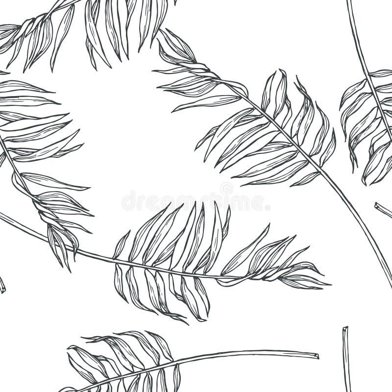 与棕榈叶的传染媒介葡萄酒植物的无缝的样式在en 皇族释放例证