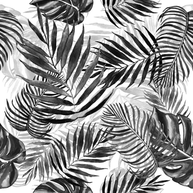 与棕榈叶的手拉的抽象无缝的样式 与异乎寻常的叶子植物的热带手工背景 向量例证