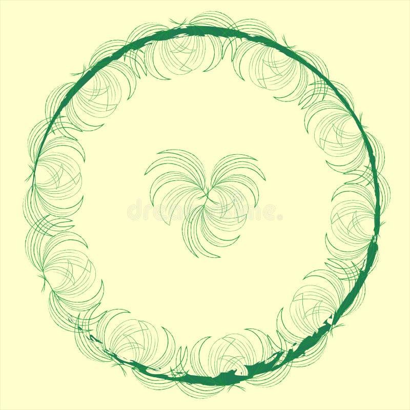 与棕榈叶的时髦的时髦标签大模型框架在苍白米黄背景的一个圈子绿色样式与与拷贝的一个块 皇族释放例证