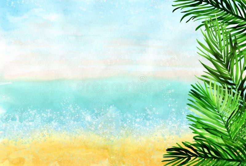 与棕榈叶的水彩水平的海滩背景在右边 皇族释放例证
