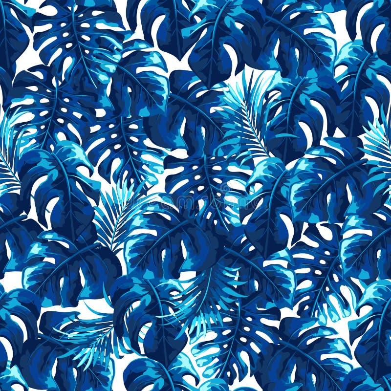 与棕榈叶的热带无缝的样式 库存例证
