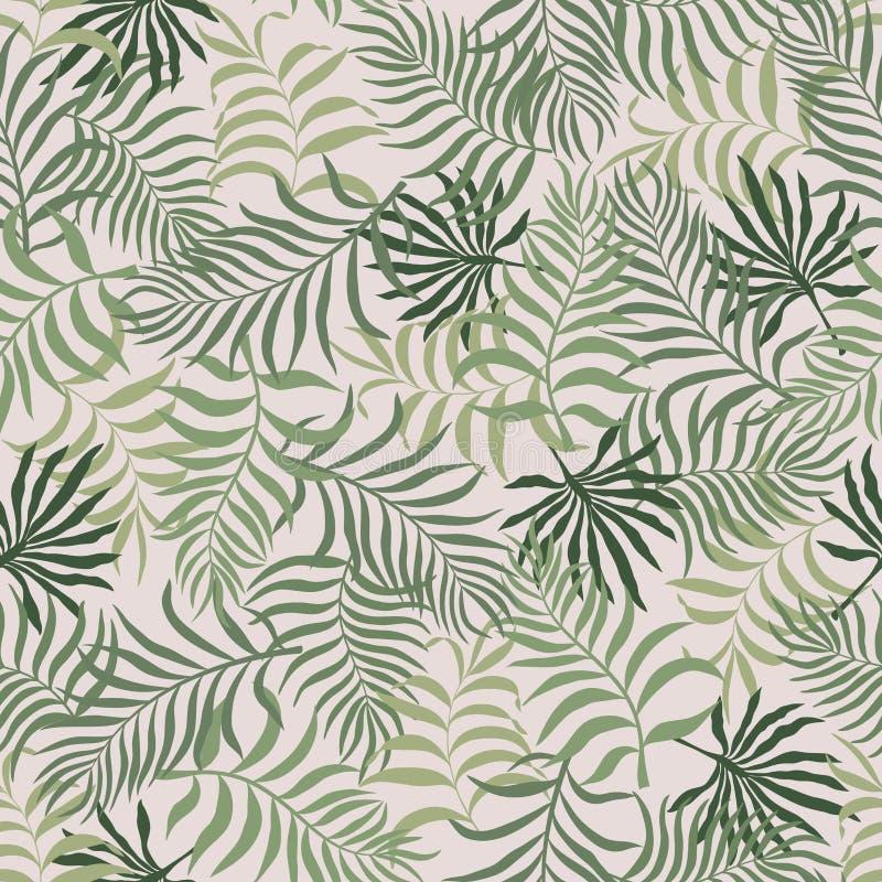 与棕榈叶的热带背景 无缝花卉的模式 S 向量例证