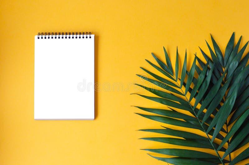 与棕榈叶的笔记薄在橙色背景 免版税库存图片