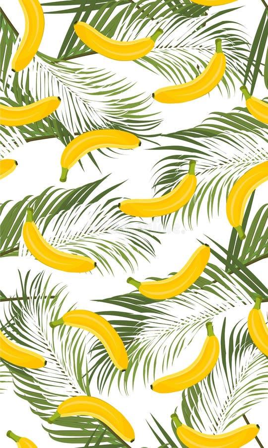 与棕榈叶的香蕉无缝的样式在白色背景 热带水果和植物 库存例证