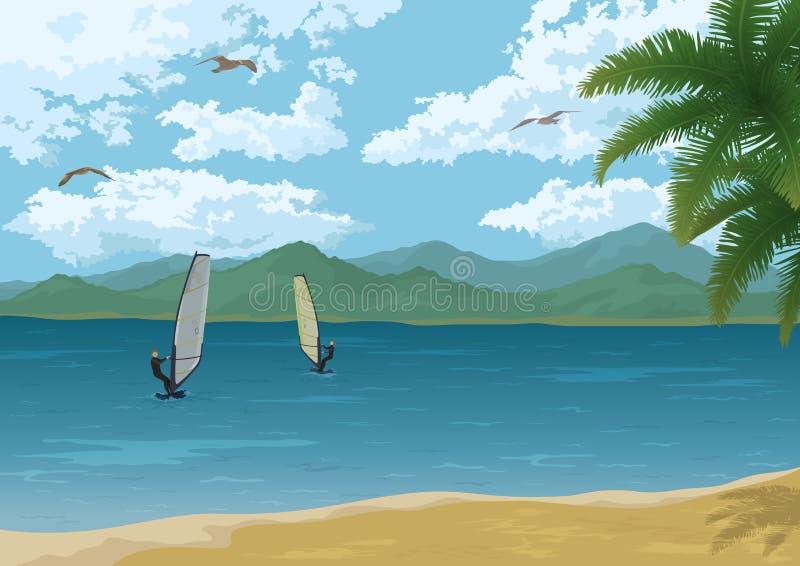 与棕榈山和冲浪者的海风景 向量例证