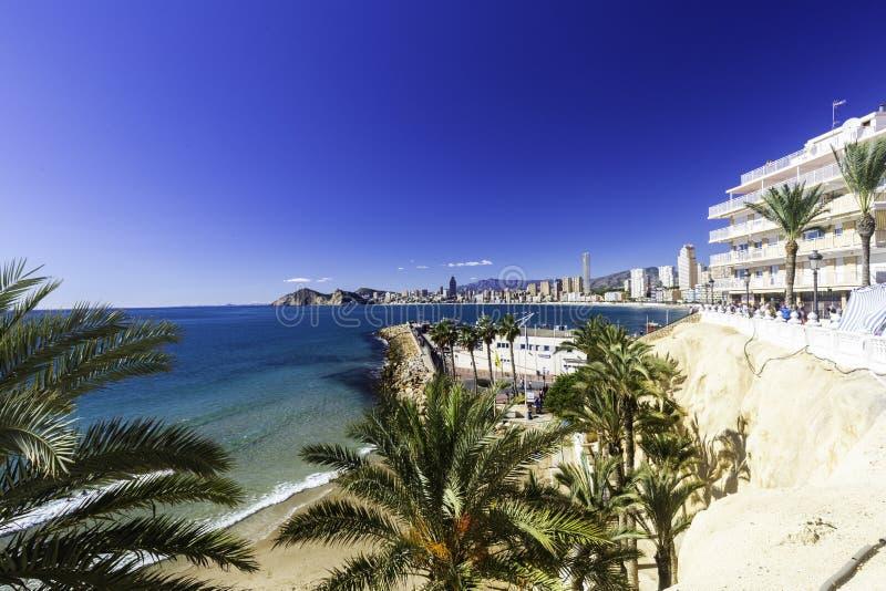 与棕榈树、口岸、摩天大楼和山,贝尼多姆西班牙的Poniente海滩 免版税库存图片