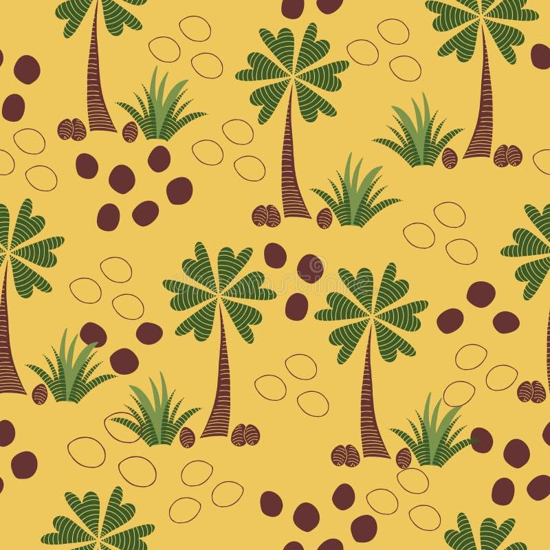 与棕榈树、心形的叶子和抽象椰子,黄色背景的五颜六色的抽象无缝的传染媒介样式 皇族释放例证